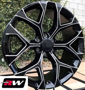 20 Inch Chevy Silverado Oe Replica Wheels Black Milled Rims 20x9 6x5 50 24