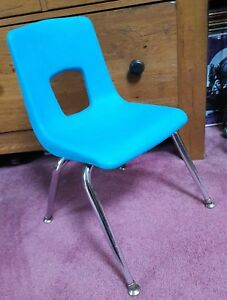Vintage Artco Bell Co Usa Hard Plastic Chair Mid Century Retro Blue School