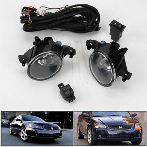 Clear Pair W Switch Front Bumper Fog Lights Lamp For Nissan Altima Jdm 2005 2006