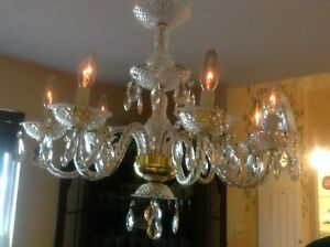 Vintage Crystal Chandelier Light 8 Arm With Crystal Prisms Stunning