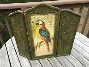 Art Deco Table Top 3 Panel Hand Painted Parrot Screen Circa 1930 S