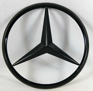 Glossy Black Curved Trunk Star Rear Badge Emblem 3 Inch 80mm For Mercedes Benz