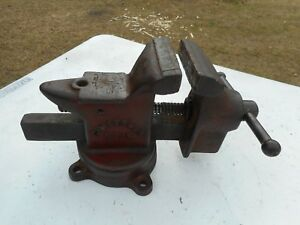 Heavy Duty Vintage Craftsman 3 1 2 Swivel Bench Vise Anvil Usa 52
