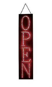 Open Sign Red Led 6 X 27 X 1 Thick Vertical Stationary Soild Or Flashing