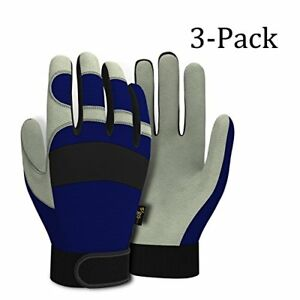 3 Pairs Vgo Pigskin Leather Warm Waterproof Winter Work Gloves Comfort Blue Xl