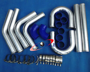 3 15 80mm Aluminum Universal Intercooler Turbo Piping Pipe Kit Blue Hose Kits