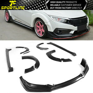 Fits 16 18 Honda Civic 10th Gen Type r Front Lip Side Skirts Fender Flares