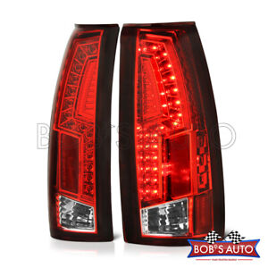 For 92 99 Tahoe Yukon Suburban Escalade thunderbolt Red Clear Led Taillight