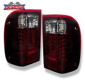 For 93 00 Ford Ranger Dark Red Smoked High Power Led Tail Lights Brake Lamps L r