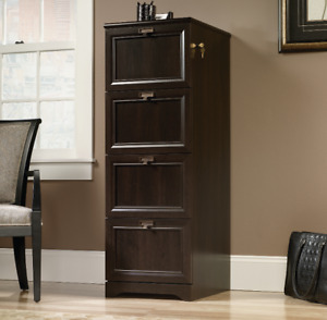 Office File Cabinet Filing For Home With Lock Brown Wood 4 Drawer Legal Size New