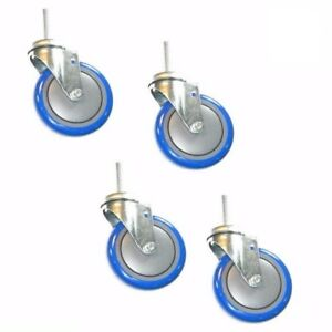 Set Of 4 Swivel Stem Casters With 5 Polyurethane Wheels 1 2 Threaded Stems