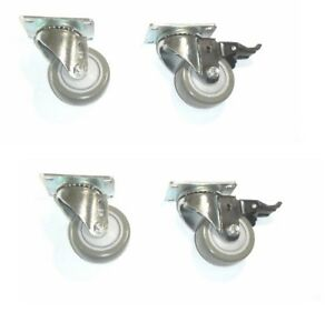Set Of 4 Plate Casters With Floor safe 3 Gray Poly Wheel 275 Cap