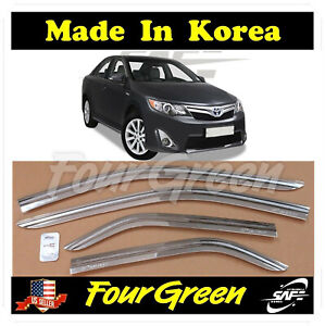 Chrome Window Sun Vent Visor Rain Guards 4p For Toyota Camry 2012 2013 2014