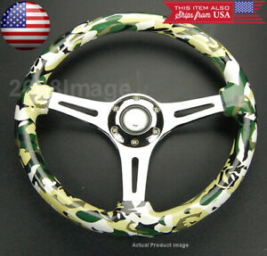 13 8 Dia Green Camouflage Camo Chrome 3 Spokes Finger Grip Horn Steering Wheel