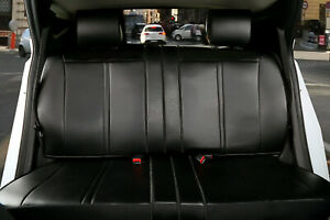 Black Pu Leather Semi Custom Rear Car Seat Cover For All Type Split Bench 209