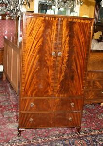 Small Antique Cupboard 2 Door 2 Drawer Flamed Mahogany Dresser Cabinet Wardrobe