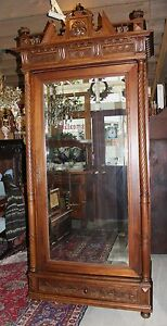 French Antique Gothic Single Door Bedroom Armoire Walnut Wardrobe With Mirror