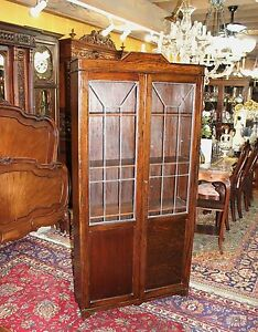 English Antique Arts Crafts Oak Leaded Glass Door Tall Wooden 5 Shelf Bookcase