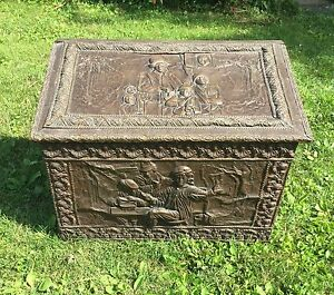 Antique Victorian Medieval Repousse Trunk Chest Steamer Pounded Metal Wood Old