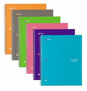 Five Star Spiral Notebooks 1 Subject Wide Ruled Paper 100 Sheets 10 1 2 X 6
