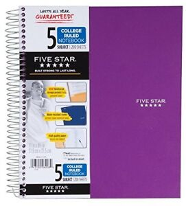 Five Star Spiral Notebook 5 Subject College Ruled 200 Sheets 11 X 8 5 Inch