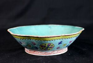 Antique 7 Chinese Hand Painted Turquoise Famille Rose Porcelain Pottery Bowl