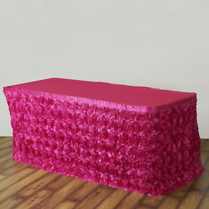 17 Fuchsia Satin Roses Table Skirt Tradeshow Wedding Party Catering Supply