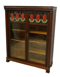 Larkin Co Antique Quartersawn Oak Two 2 Door Bookcase W Leaded Glass