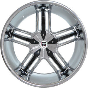 4 Gwg Wheels 24 Inch Chrome Black Spade Rims Fits Dodge Charger 2005 2018