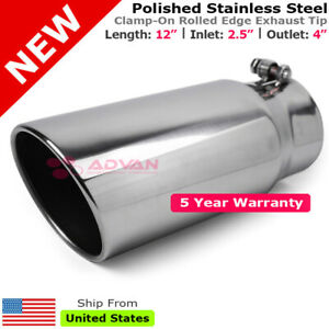 Stainless Truck Angled Polish 12 Inch Bolt On Exhaust Tip 2 5 In 4 Out 202469
