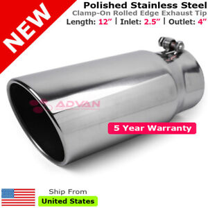 Stainless Truck Angled Polish 12 Inch Bolt On Exhaust Tip 2 5 In 4 Out 202517