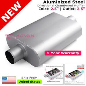 Aluminized Steel Chamber Race Muffler 2 5 Inches Center In out 200128