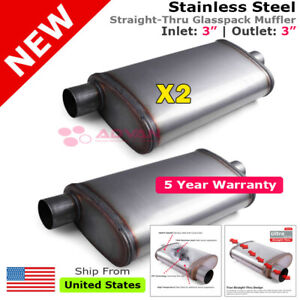 Stainless Steel Straight Thru Muffler 3 Inches Offset In Center Out 203385 Pair