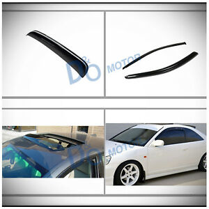 3pcs Vent Shade Window Visors sun moon Roof Shield Fit 01 05 Civic 2 door Coupe