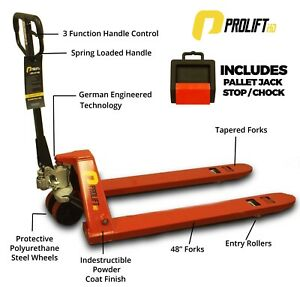 Pallet Jack for Truck Driver New Prolifthd 5500 Lb 27 x48 With Free Stop Chock