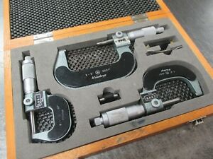 Used Mitutoyo 193 923 Digital Outside Micrometer 3 piece Set W Case rd