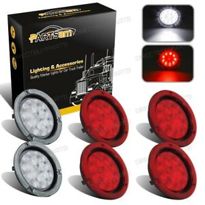 4xred 2xwhite 4 Round 10led Stop Turn Tail Brake Backup Light Truck Trailer 12v