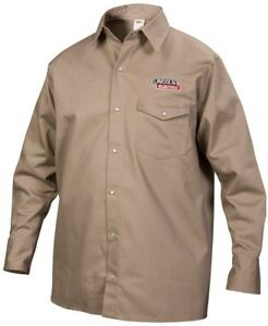 Lincoln Electric Fire Resistant Medium Khaki Cloth Welding Shirt