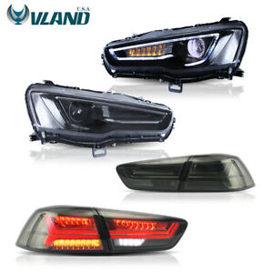 Black Led Headlights Tail Lights Smoked For Mitsubishi Lancer Evo X 2008 2017