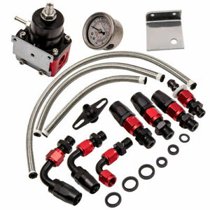 Universal Black Red Adjustable Fuel Pressure Regulator Kit An 6 Fitting End