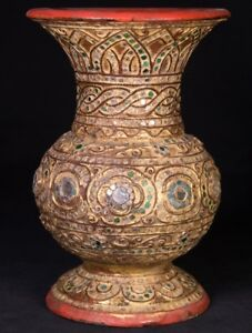 19th Century Antique Burmese Vase From Burma Antique Buddha Statues