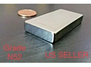4 Large Neodymium N52 Block Magnet Super Strong Rare Earth 2 X 1 X 1 4