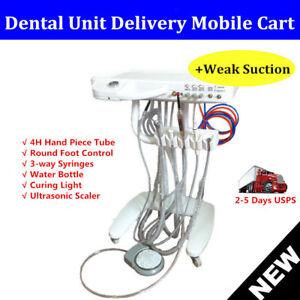 Portable Moveable Dental Delivery Unit Cart Treatment With Curing Light suction