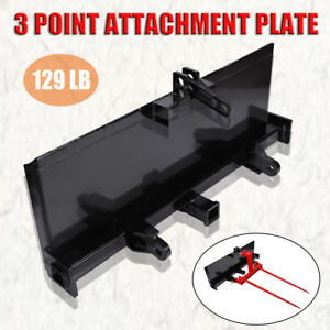 Skidsteer 3 Point Attachment Plate Adapter Skid Steer Hitch Front Loader 129 Lb