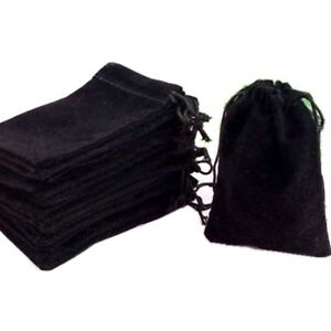 3 X 4 50 Pcs Velvet Jewelry Drawstring Bags Pouches Cloth Ring Wholesale Black
