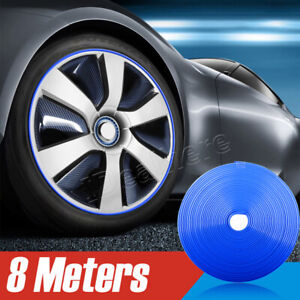 Car Wheel Hub Rim Edge Protector Tire Guard Line Sticker Rubber Strip Blue New