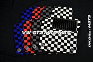 Dragintmats Jdm Checkered Floor Mats Vw Volkswagen Gti Mk5 Mk6 Coco Lhd Monster