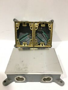 Hubbell B4214 Floor Box Cast Iron Shallow Two Gang Lot Of 2