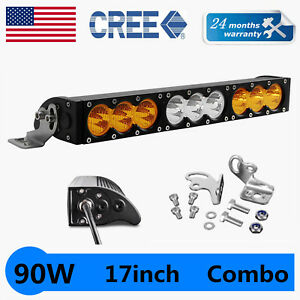 17inch 90w Cree Led Work Light Bar Driving Lamp Truck Amber Warn Emergency Slim