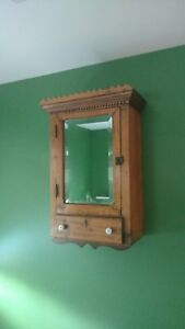Antique Early American Hanging Wall Cupboard Cabinet Single Drawer